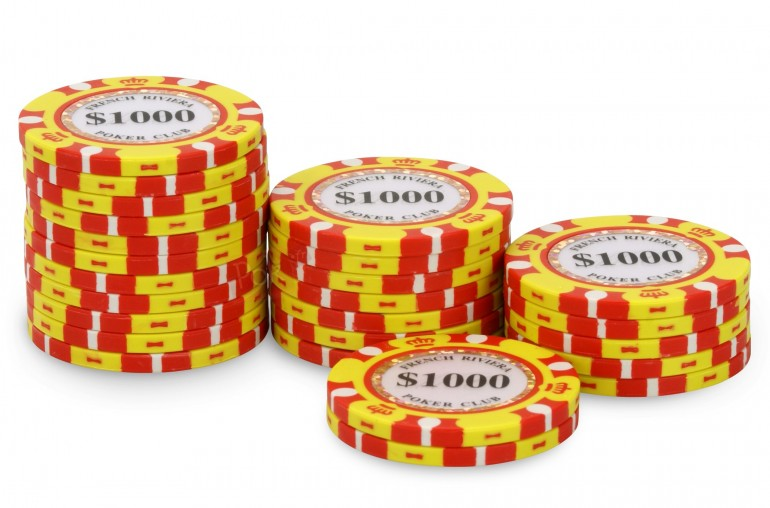 Rouleau de 25 jetons French Riviera Gold $1000