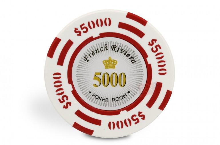 Rouleau de 25 jetons French Riviera $5000
