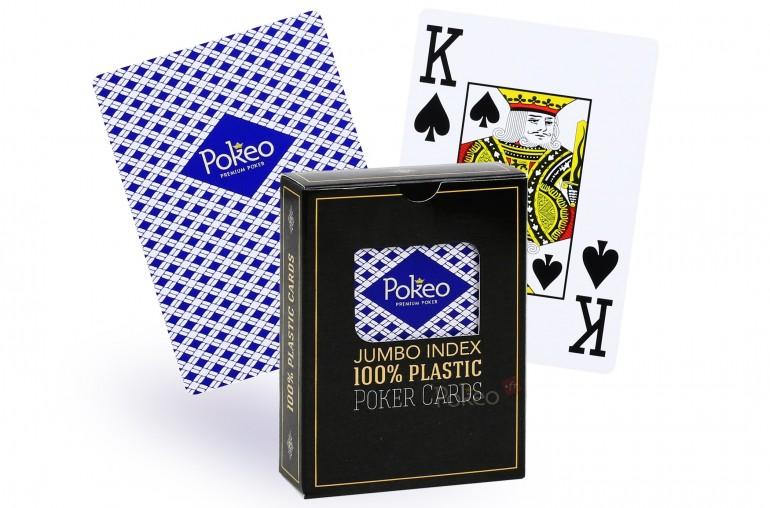 Cartes de poker 100% plastique (bleu)