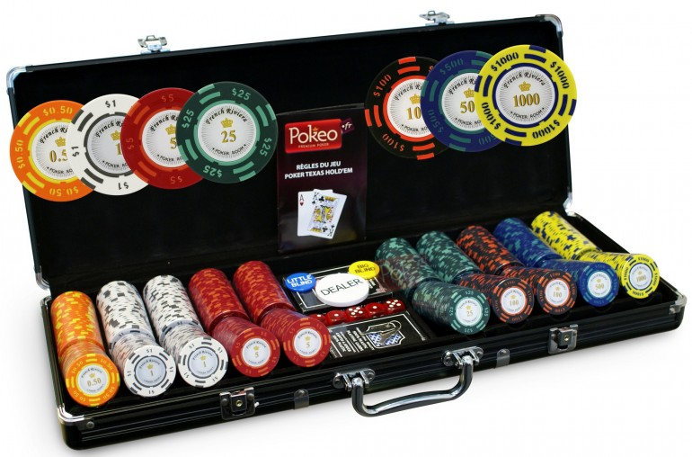 Pack French Riviera 500 jetons Tournament + Tapis Texas Poker vert