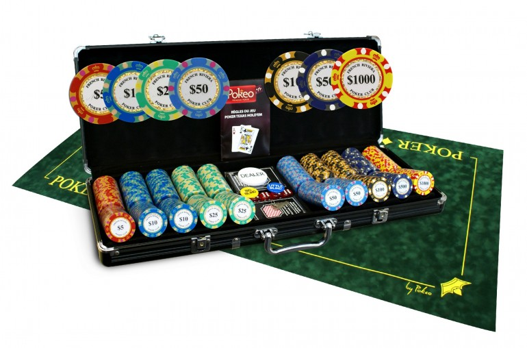 Pack French Riviera Gold 500 jetons + Tapis Texas Poker vert